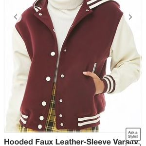 Hooded faux leather sleeve varsity jacket